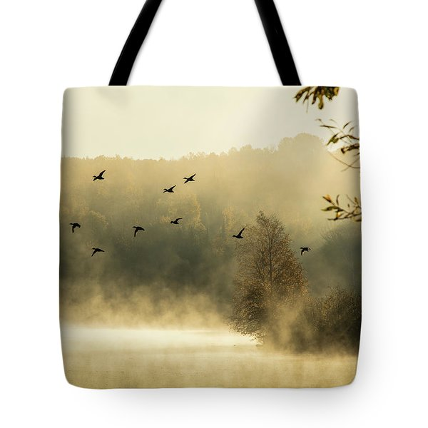 Tote Bag featuring the photograph Morning Fog On Haley Pond In Rangeley Maine by Jeff Folger