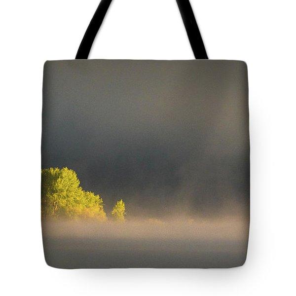 Morning Fog On Jackson Lake Grand Teton National Park  Tote Bag