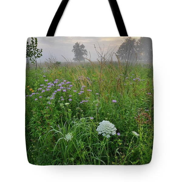 Morning Fog Over Glacial Park Prairie Tote Bag
