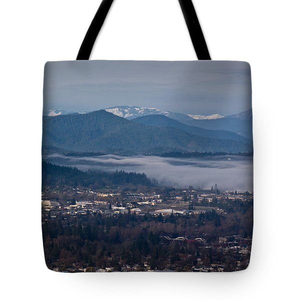 Morning Fog Over Grants Pass Tote Bag