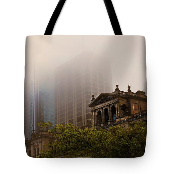 Morning Fog Over The Treasury Tote Bag