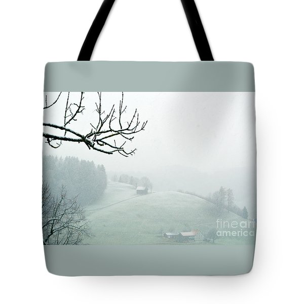 Tote Bag featuring the photograph Morning Fog - Winter In Switzerland by Susanne Van Hulst
