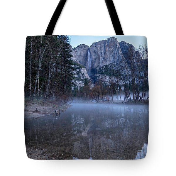 Morning Fog Yosemite Falls Tote Bag