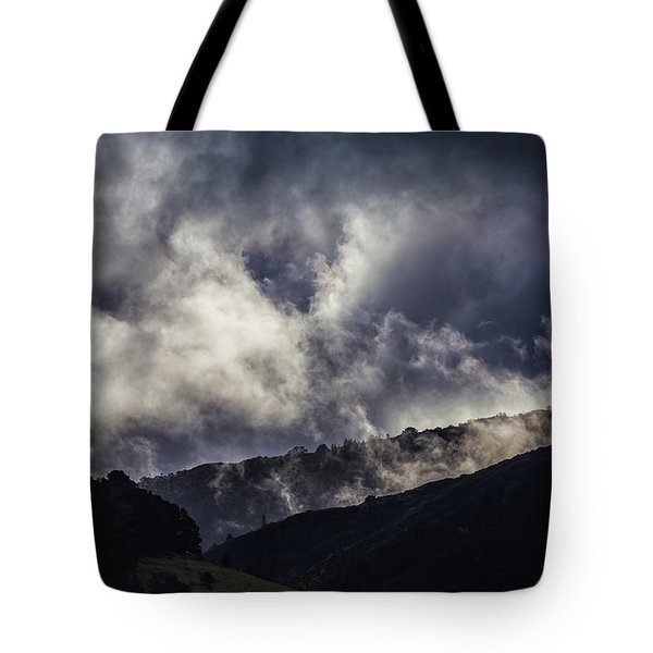 Tote Bag featuring the photograph Morning Fog,mist And Cloud On The Moutain By The Sea In Californ by Jingjits Photography