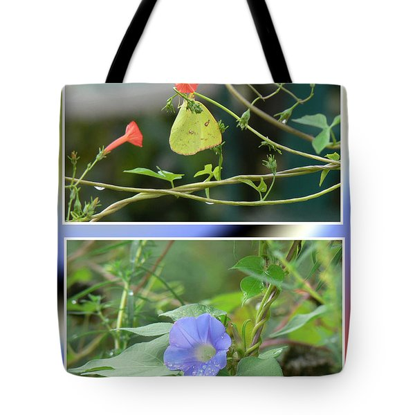 Tote Bag featuring the photograph Morning Glories And Butterfly by EricaMaxine  Price