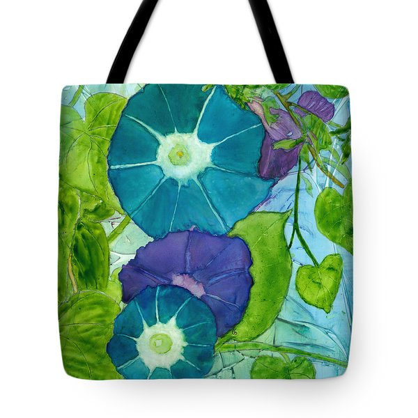 Morning Glories In Watercolor On Yupo Tote Bag