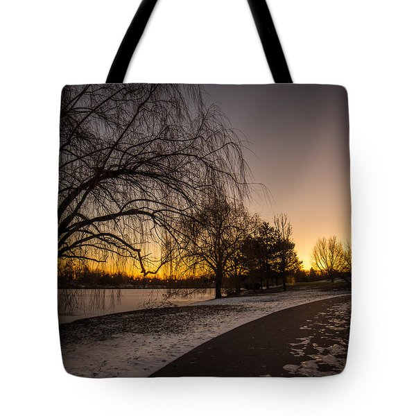 Morning Glow Along Hoyt Lake Tote Bag by Chris Bordeleau