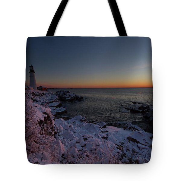 Morning Glow At Portland Headlight Tote Bag