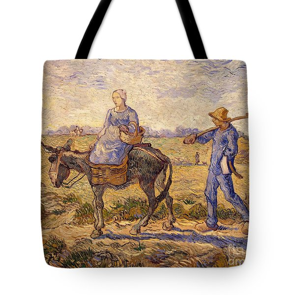 Morning Going Out To Work Tote Bag by Vincent Van Gogh