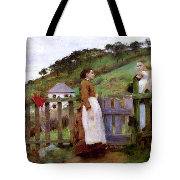 Tote Bag featuring the painting Morning Gossip by Henry Scott Tuke