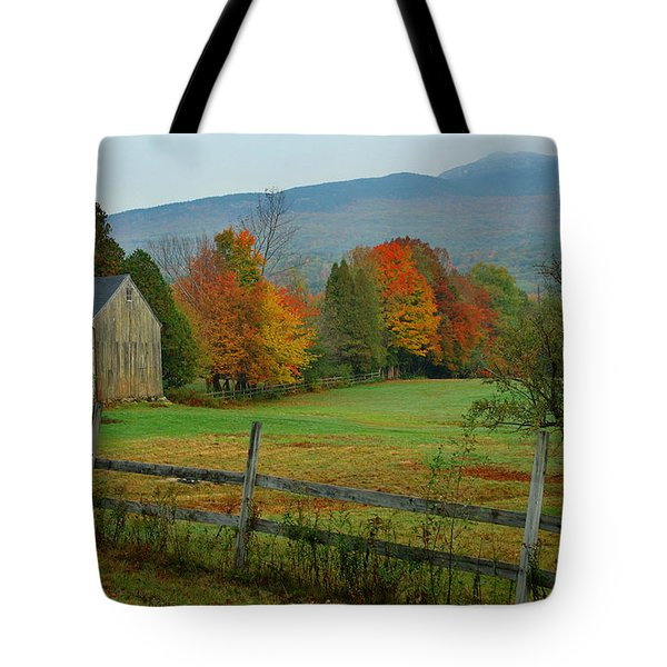 Morning Grove - New England Fall Monadnock Farm Tote Bag by Jon Holiday