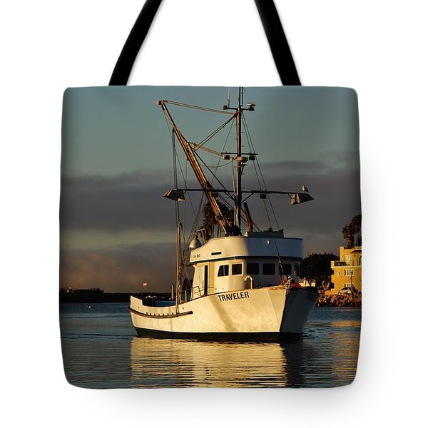 Morning Harbor Light Tote Bag