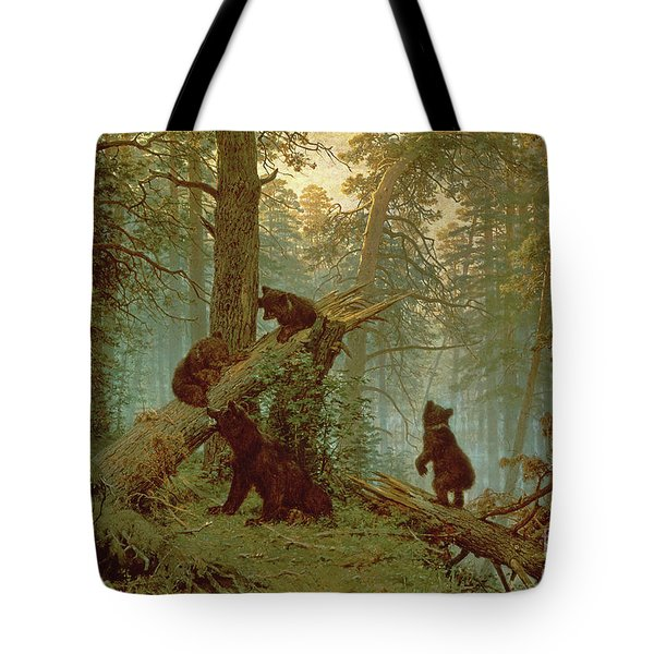 Morning In A Pine Forest Tote Bag by Ivan Ivanovich Shishkin