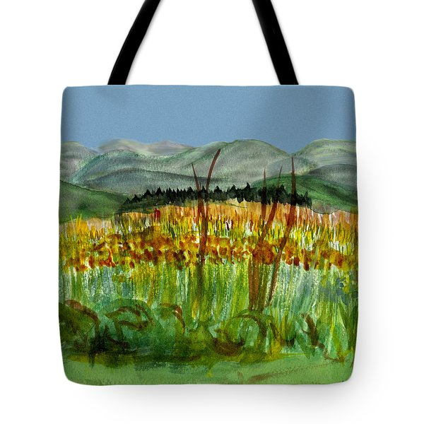 Tote Bag featuring the painting Morning In Backyard At Barton by Donna Walsh