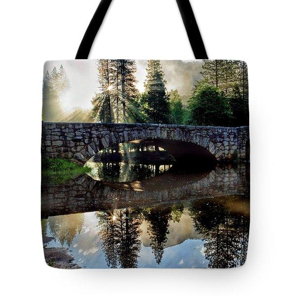Morning Light Along The Merced River Tote Bag