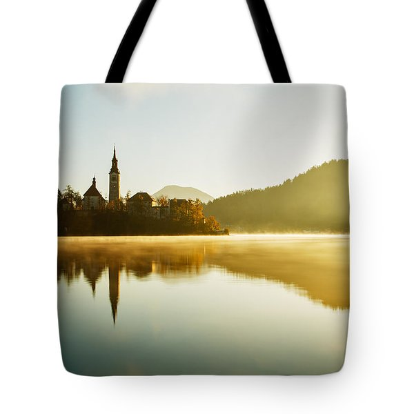 Tote Bag featuring the photograph Morning Light At Lake Bled by Ian Middleton