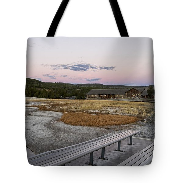 Morning Light At Old Faithful Tote Bag by Shirley Mitchell
