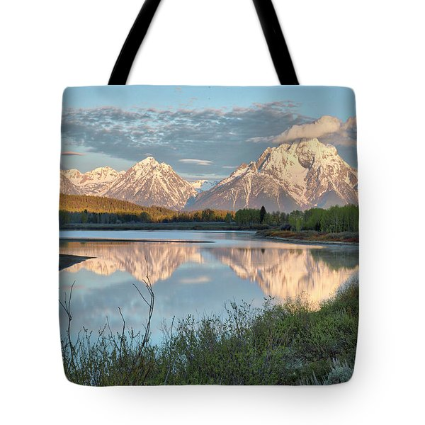 Morning Light At Oxbow Bend Tote Bag