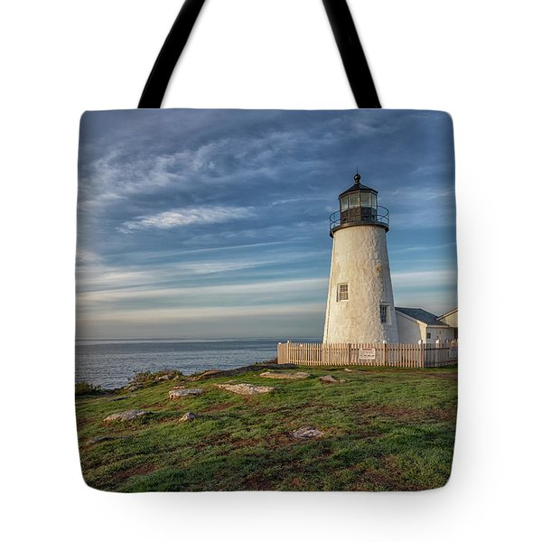 Morning Light At Pemaquid Point Tote Bag