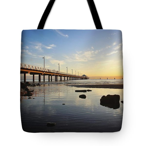 Morning Light Down By The Pier Tote Bag