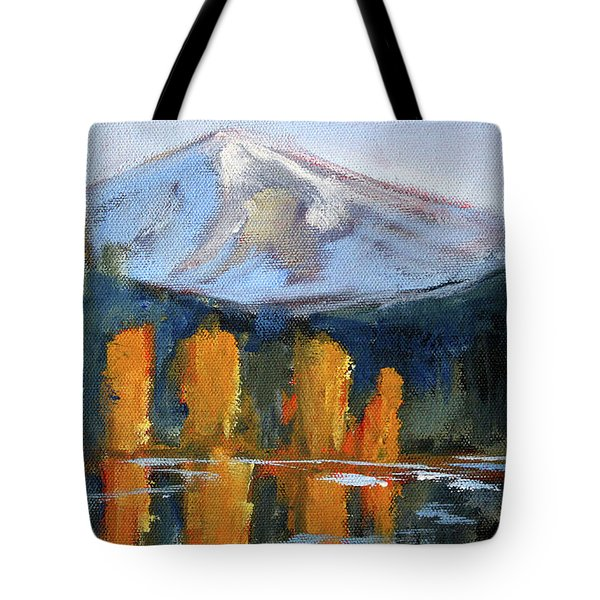Tote Bag featuring the painting Morning Light Mountain Landscape Painting by Nancy Merkle