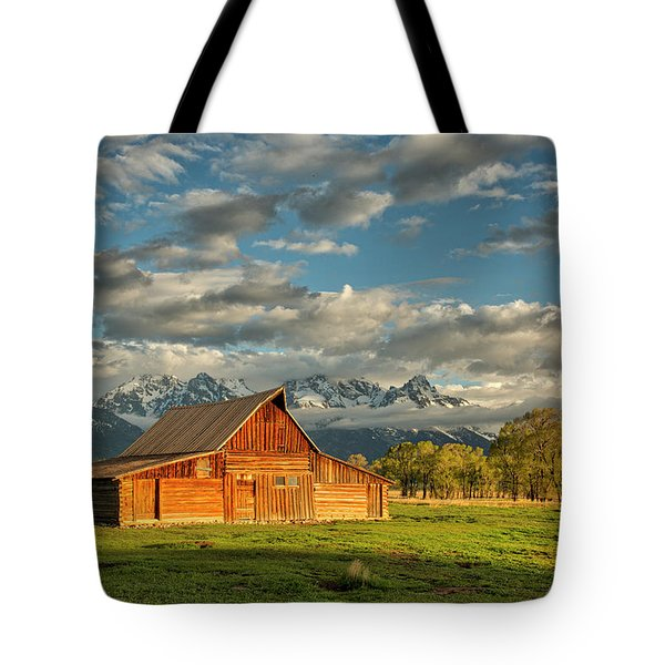 Tote Bag featuring the photograph Morning Light On Moulton Barn #2 by Joe Paul