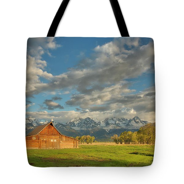 Morning Light On Moulton Barn Tote Bag