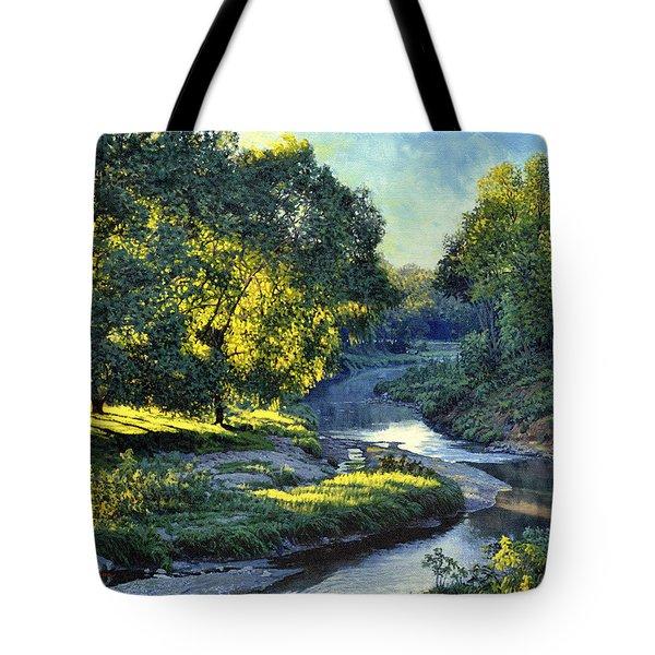 Morning Light On The Creek Tote Bag