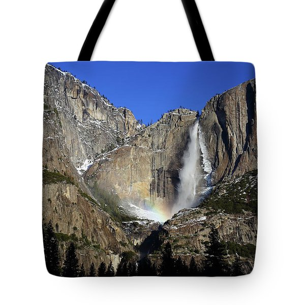 Tote Bag featuring the photograph Morning Light On Upper Yosemite Falls In Winter by Jetson Nguyen