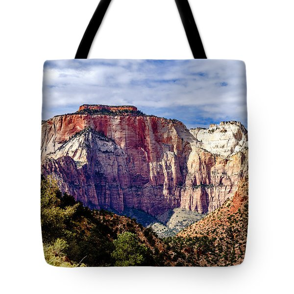 Morning Light On Zion's West Temple Tote Bag
