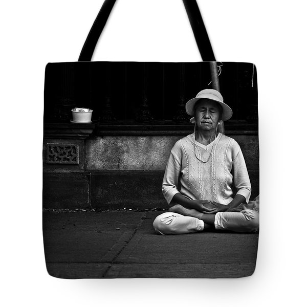 Tote Bag featuring the photograph Morning Meditation At Toronto City Hall by Brian Carson