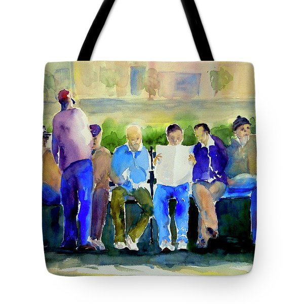 Morning Meeting In Portsmouth Square Tote Bag