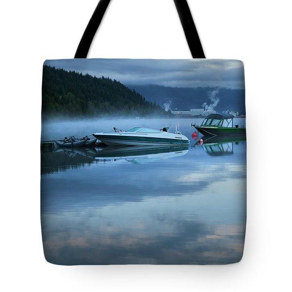 Morning Mist Adams Lake Tote Bag by Theresa Tahara