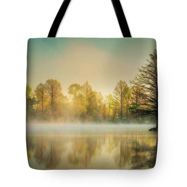 Tote Bag featuring the photograph Morning Mist At Honor Heights  by James Barber