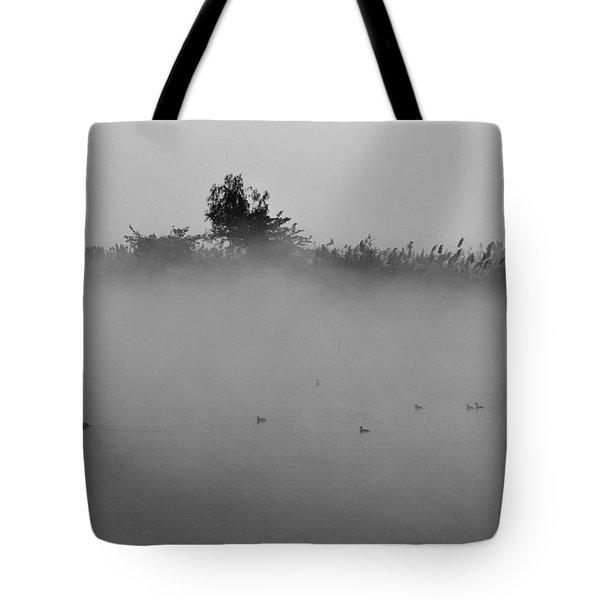 Morning Mist At Wetland Of Harike Tote Bag