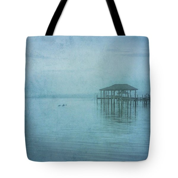Tote Bag featuring the digital art Morning Mist In Blue by Randy Steele