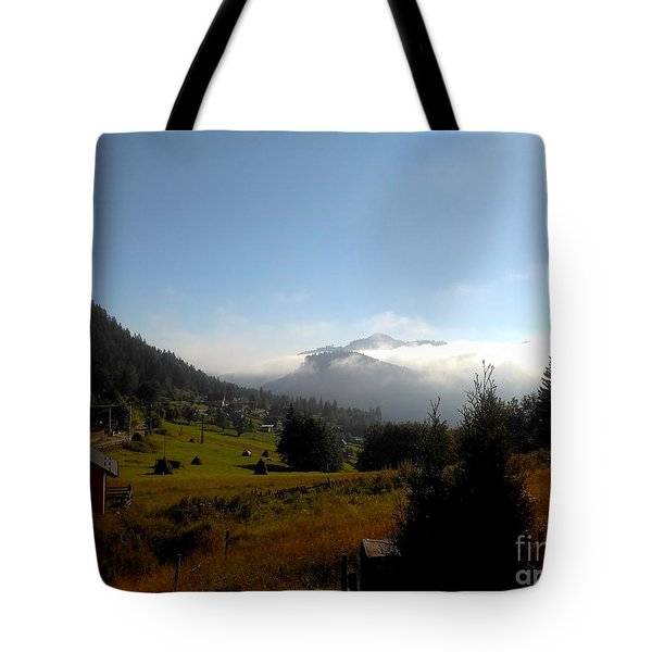 Morning Mist In The Magical Valley Tote Bag