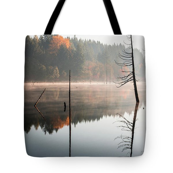Morning Mist On A Quiet Lake Tote Bag