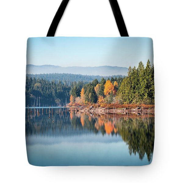 Morning Mist On Distant Mountains Tote Bag