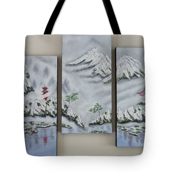 Morning Mist Triptych Tote Bag