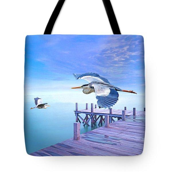 Morning Moon And Gray Herons Tote Bag