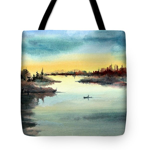 Tote Bag featuring the painting Morning On The Lake by Sam Sidders