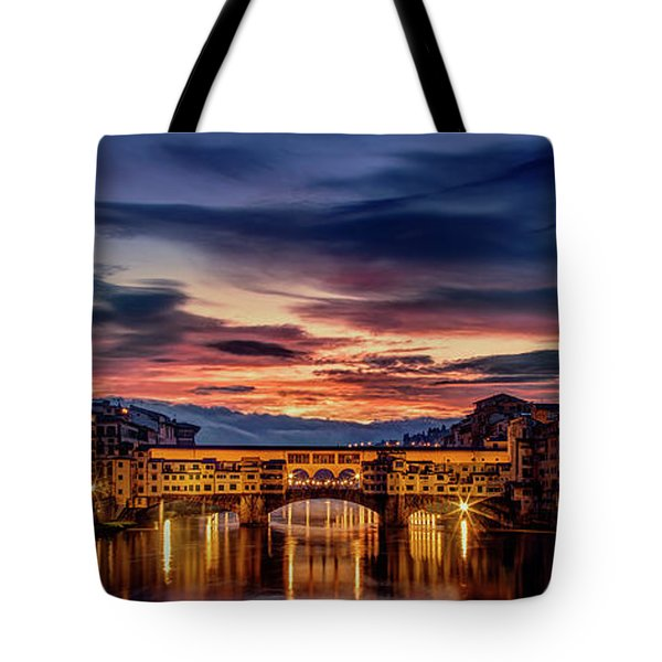 Tote Bag featuring the photograph Morning Panorama In Florence by Andrew Soundarajan