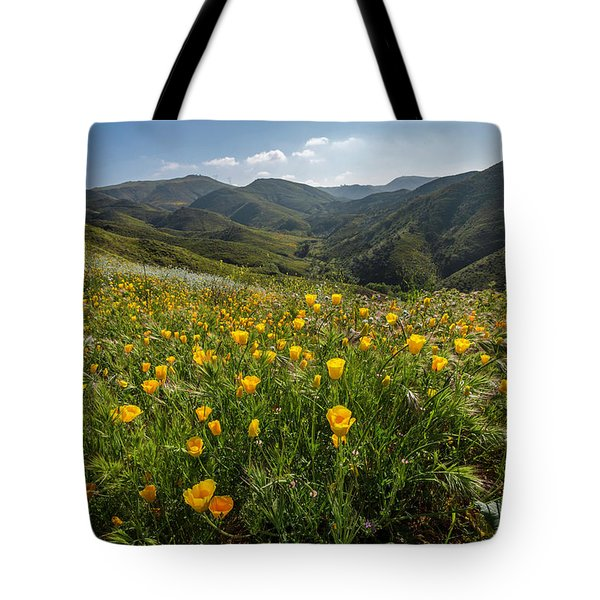 Morning Poppy Hillside Tote Bag