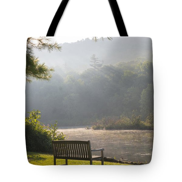 Morning Rays On The Pond And Bench Tote Bag