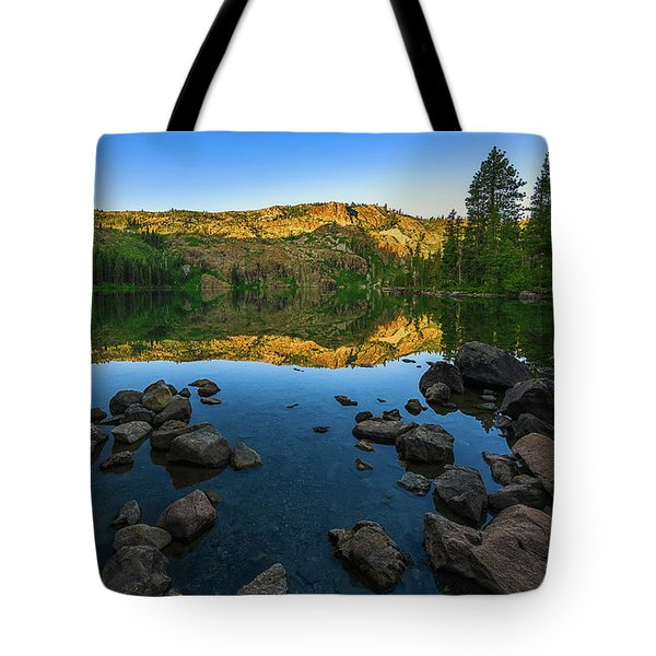 Morning Reflection On Castle Lake Tote Bag