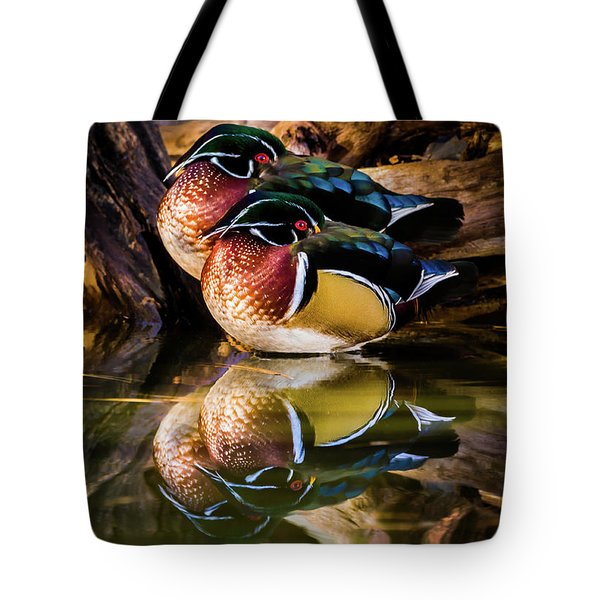 Morning Reflections - Wood Ducks Tote Bag