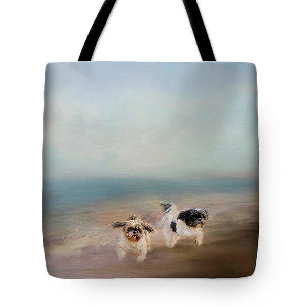 Morning Run At The Beach Tote Bag
