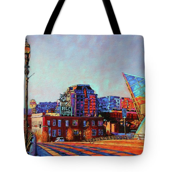 Morning Rush - The Corner Of Salem Avenue And Williamson Road In Roanoke Virginia Tote Bag by Bonnie Mason