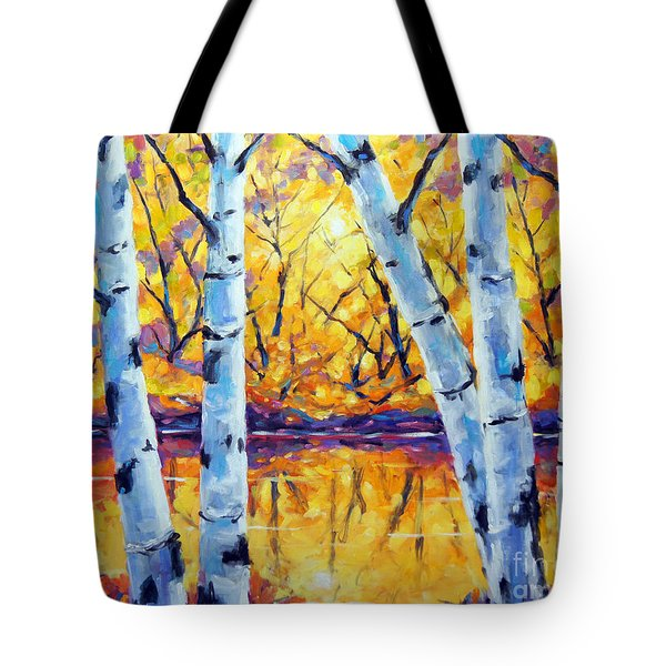 Morning Sparkle Birches By Prankearts Tote Bag